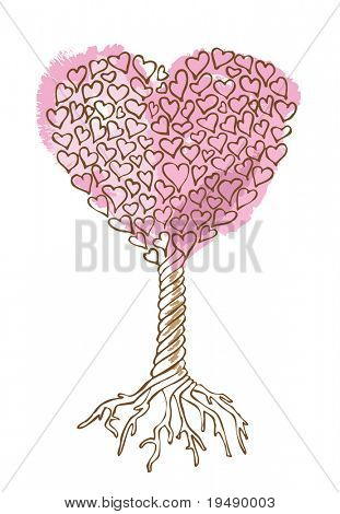 Tree of love / vector illustration /  cmyk color