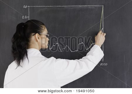 Dark-haired scientist drawing charts on the blackboard in a lab