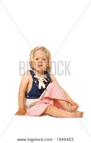 Toddler Girl Feeling Unsure Isolated On White
