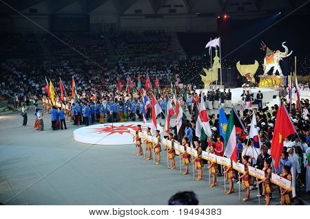 BANGKOK , THAILAND - AUG 1: 1st Asian martial arts games 2009, opening ceremony at Indoor Stadium Huamark on August 1, 2009 in Bangkok, Thailand.