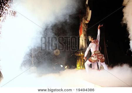 BANGKOK , THAILAND - AUG 1: A participant entertains spectators at the 1st Asian martial arts games 2009, opening ceremony at Indoor Stadium Huamark on August 1, 2009 in Bangkok, Thailand.