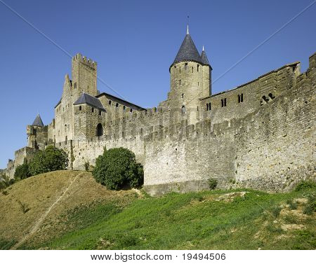 France, Carcassone is a fortified French town in  province of Languedoc