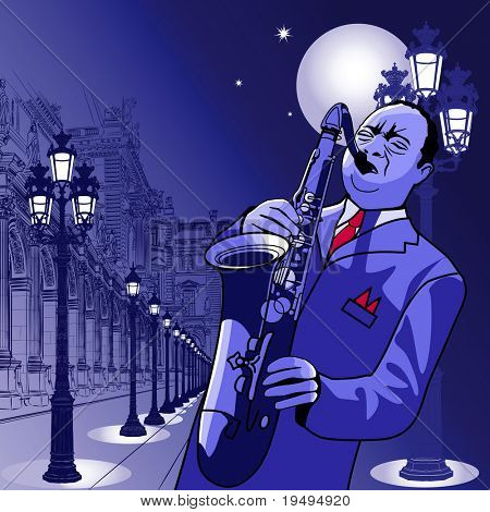 Vector illustration of a saxophonist in Paris
