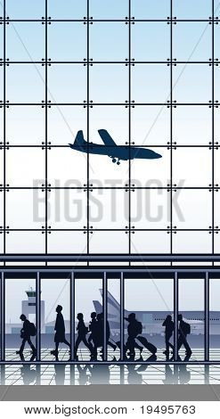 Vector illustration of travelers inside airport terminal.