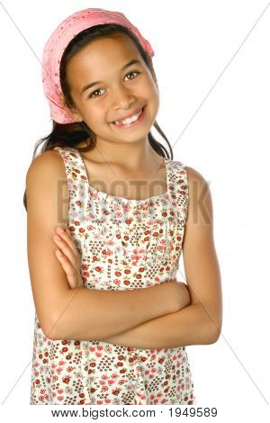 Beautiful Girl In Summer Clothes And Pink Bandana