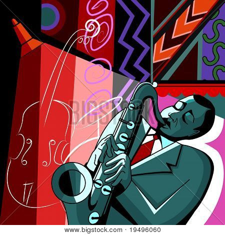 Vector illustration of a saxophonist on a colorful background