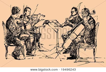 vector illustration of string chamber quartet