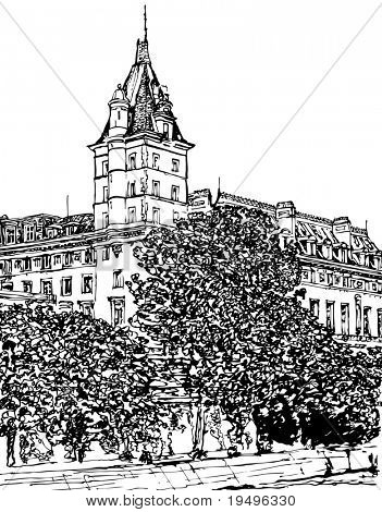 Vector illustration of Paris- Ile de la Cite - Palais de justice (hand drawing)
