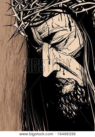 Vector illustration of a Christ 's face (ink drawing)