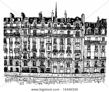 Vector illustration of Paris- Ile de la Cite - facades along the seine river (hand drawing)