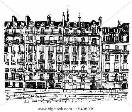 Vector illustration of Paris- Ile de la Cite - facades along the seine river (hand drawing)