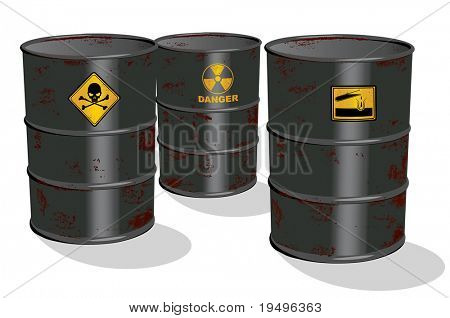 Vector illustration of oil and chemical barrel isolated on white