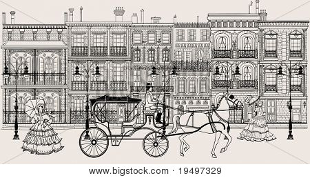 Vector imaginative artwork representing a street in New orleans style with horse carriage and women in crinoline dress