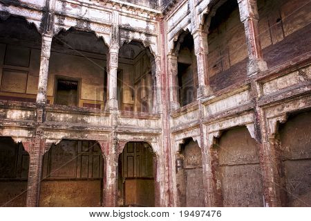 Internal courtyard and gallery with free arches in Lahore Fort, Pakistan