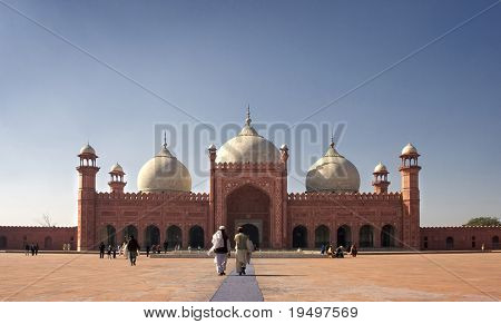 Main prayer hall and court of Badshahi Mosque, Lahore, Pakistan