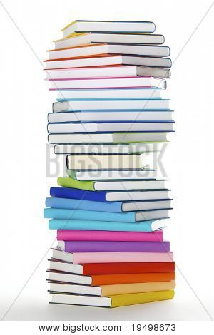 Stapel von Regenbogen farbig reale Bücher in Spiral-Formation, Seitenansicht, isolated on white background