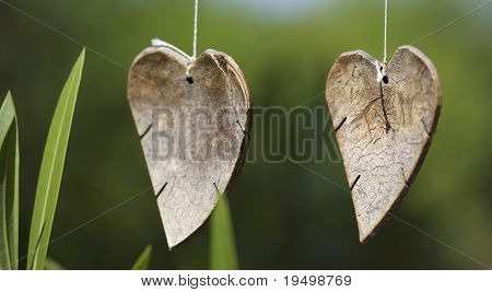 Close-up of two wooden hearts hanging on thread on green background, shallow depth of field.