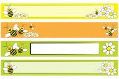 image of bumble bee  - Web banner set with a bee and white daisies for children  - JPG