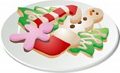 stock photo of christmas cookie  - Assorted christmas cookies arranged on a plate isometric illustration - JPG