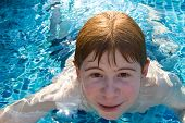 Boy With Red Hair Is Swimming In The Pool And Enyoing The Fresh Water