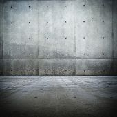 stock photo of court room  - Grunge bare concrete room - JPG