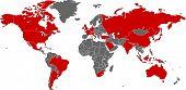 Постер, плакат: G20 стран на карте мира в векторных искусства