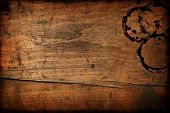stock photo of wooden table  - Dark vintage wood table texture with cup stains - JPG