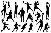 stock photo of basketball  - Silhouettes of Basketball Players Vector - JPG