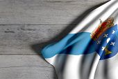 Galicia Flag On Wood poster