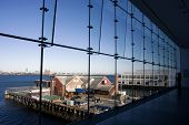 image of ica  - View to the coastline from the ICA Boston Museum at sunset - JPG