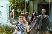 Selfie On A Background Of Zombies, Zombies Tied To An Abandoned House poster