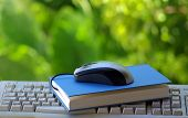 picture of online education  - Mouse with book and keyboard making one pauses - JPG