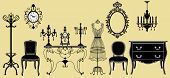 picture of console-mirror  - Vector illustration of original antique furniture collection - JPG