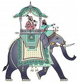 image of indian elephant  - Vector illustration of a decorated Indian elephant - JPG