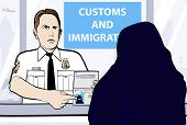 Conceptual vector illustration of a passport control of woman wearing niqab