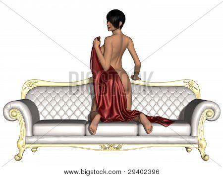 Sexy nude girl posing on a sofa