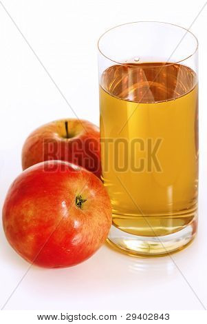 Fresh apple juice with red apples