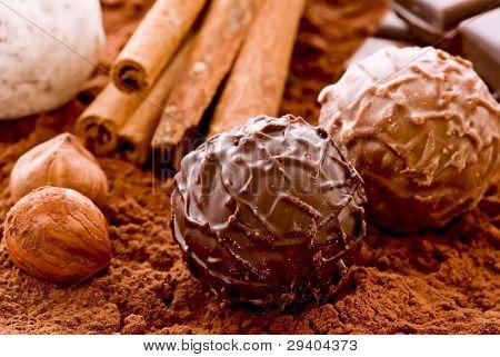 Chocolate Truffle and Cocoa Powder