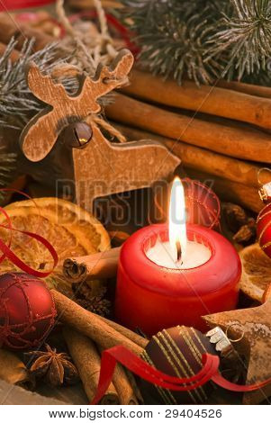 Candlelight with Christmas Decoration