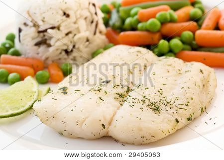 Barramundi with Vegetable and Wild Rice