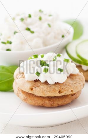 Cottage Cheese with Cucumber on Cracker
