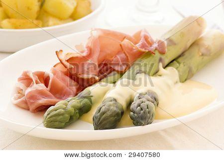Asparagus with Gammon and Potatos