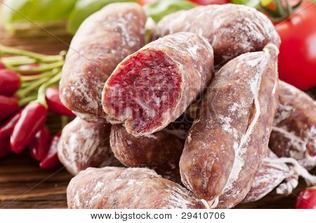 Italian salami as close up
