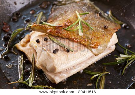 trout roasted with the fresh herbs