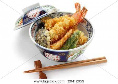 prawn tempura bowl, japanese food