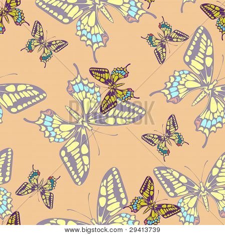 Seamless Pastel Butterfly Pattern Wallpaper