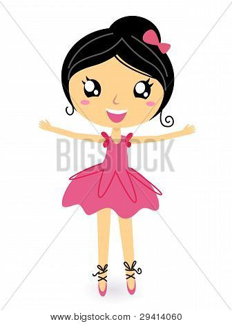 Dancing Ballerina In Basic Pose Isolated On White