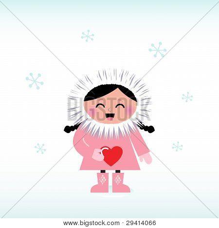 hübsch Eskimo Kind mit roten Herzen, isoliert auf weiss