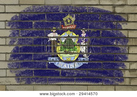 Grunge Flag Of Us State Of Maine On Brick Wall Painted With Chalk