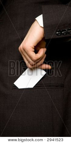 Businesscard In The Pocket Of A Suit